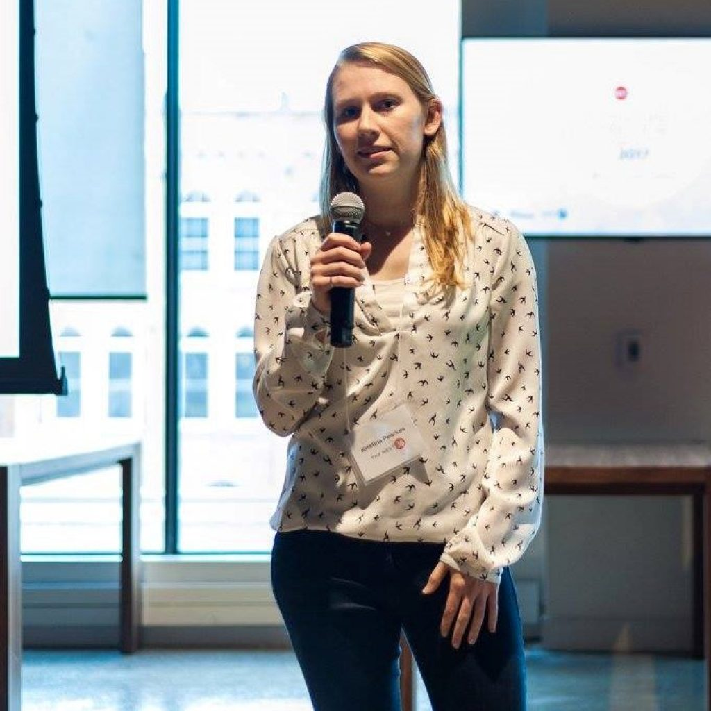 Kristina Pearkes,  CTO, accepts the 2017 Next 36 Outstanding Venture Award and Next 36 Venture Preview Night's 1st Place awards in Toronto, Ontario.