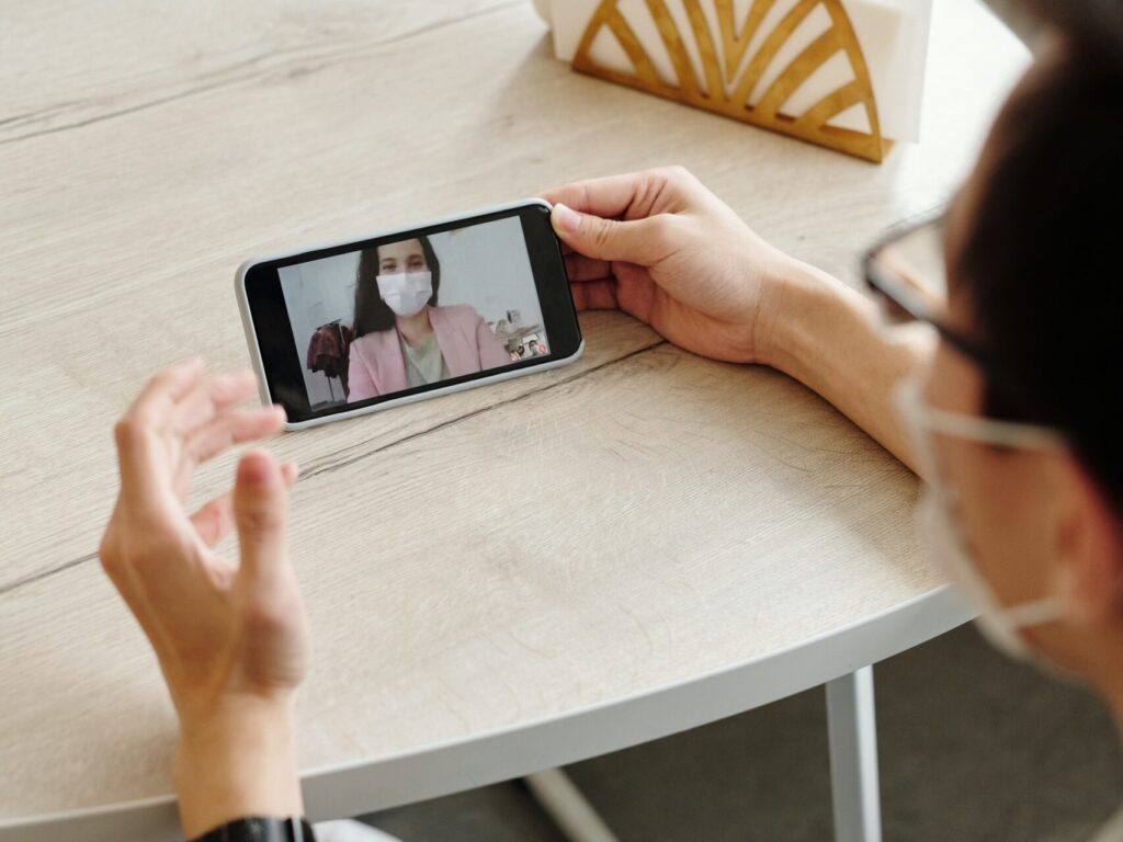 Person Wearing Mask on Video Chat