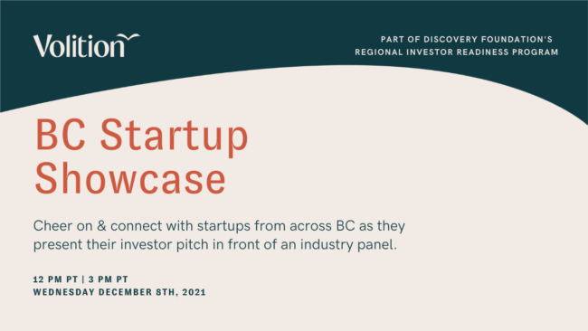 Volition & Discovery Foundations Present BC Startup Showcase