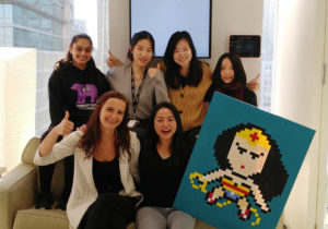 Jessica Yip (front row, right) with some of the wonder women of A&K Robotics at SFU VentureLabs.